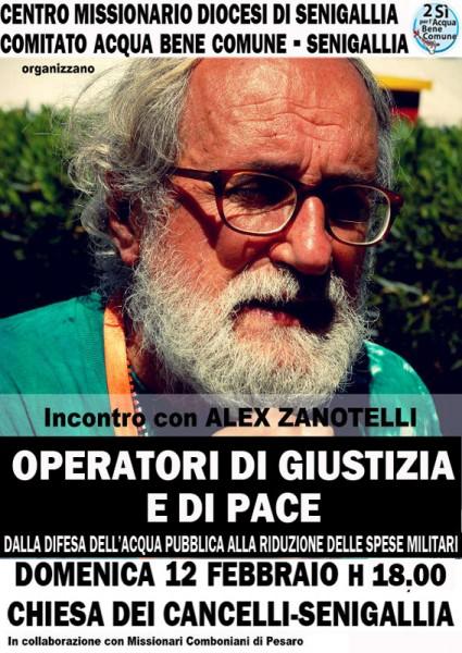 Locandina dell'incontro con padre Alex Zanotelli
