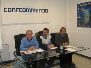 I rappresentanti di SIB-Confcommercio: Ciccolini, Monachesi, Pasquini