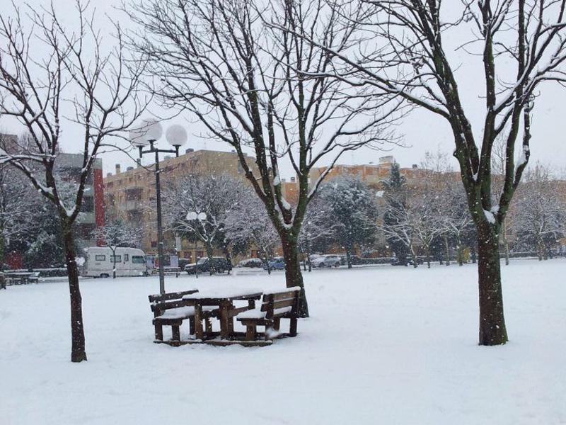 Neve al parco della Pace di Senigallia