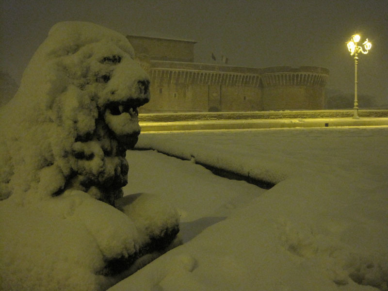 Maxi-nevicata a Senigallia: la Rocca Roveresca