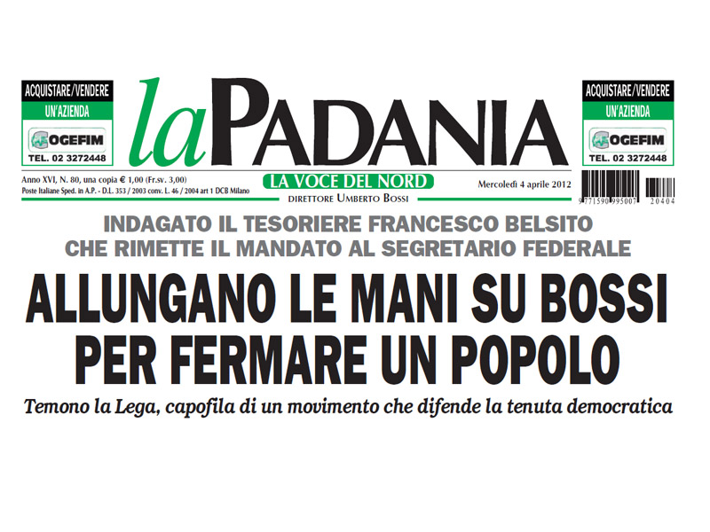 Prima pagina del quotidiano La Padania