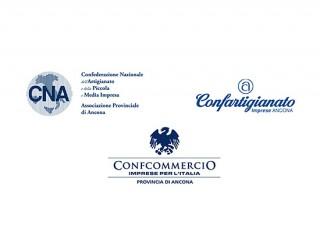 """Loghi delle """"Tre C"""": CNA, Confartigianato e Confcommercio della Provincia di Ancona"""
