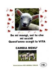 Volantino contro la mattanza degli agnelli per Pasqua