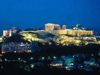 Veduta notturna di Atene