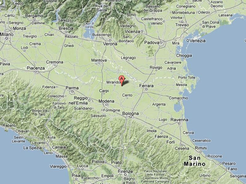 L'epicentro dell'ultimo terremoto nel modenese