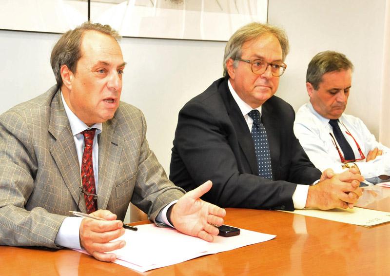 Luca Marconi, Gian Mario Spacca, Almerino Mezzolani hanno illustrato i piani sanitari di area vasta