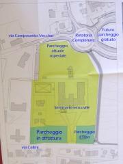 La piantina dei lavori per il parcheggio di via Cellini a Senigallia