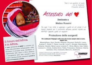 La donazione per Amref in ricordo di Matteo Rossini