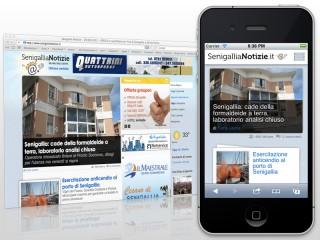 Versione desktop e versione smartphone di Senigallia Notizie