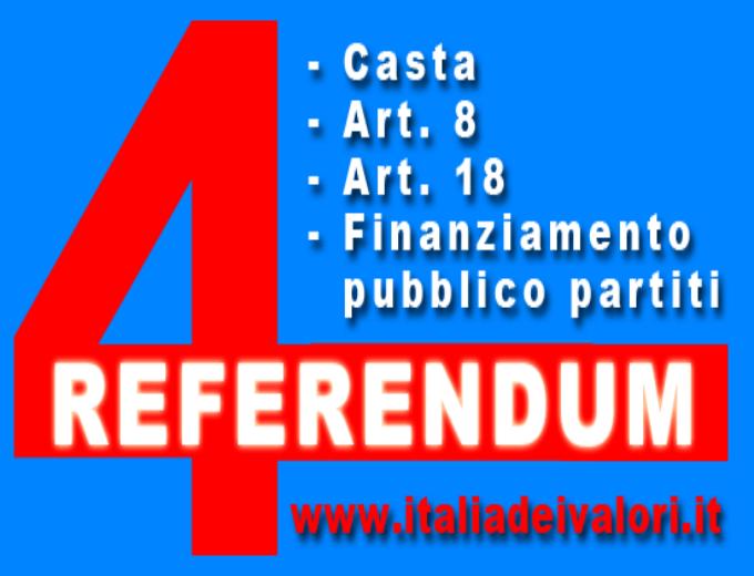 i quattro referendum voluti dall'Idv
