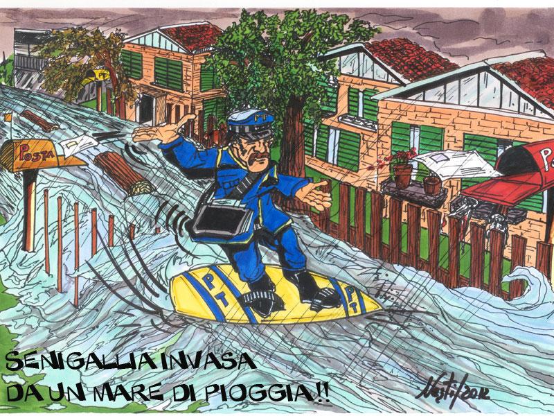 Vignetta sugli allagamenti a Senigallia