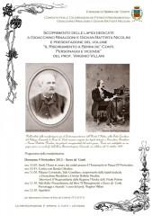 Locandina per la celebrazione di due patrioti di Serra de' Conti, Gioacchino Rinaldoni e Giovan Battista Nicolini