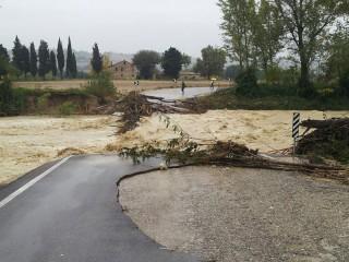 Il fiume Cesano ha trascinato via il ponte provvisorio tra Corinaldo e la Pergolese