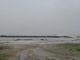 La neve cade su Senigallia, vista dal Cesano