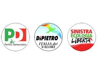 I loghi dei tre partiti: PD - IdV - SEL