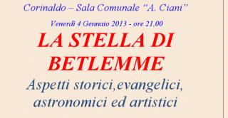 """Conferenza """"La stella di Betlemme"""" il 4 gennaio a Corinaldo"""
