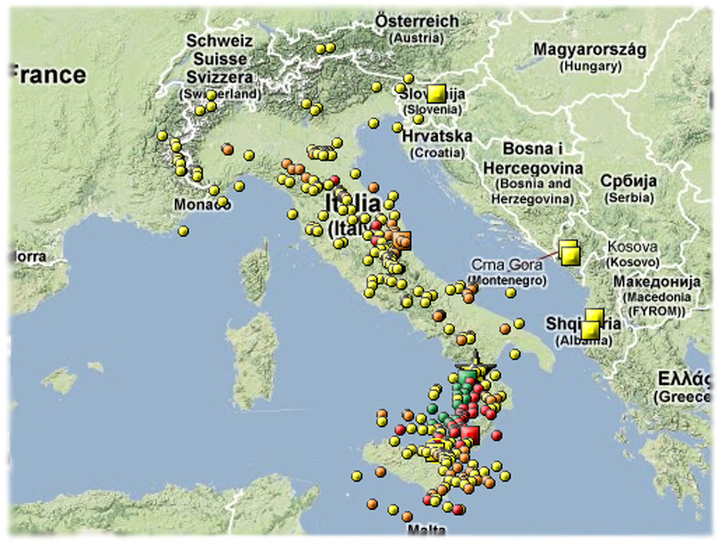 Cartina Italia Terremoti.La Mappa Dei Terremoti In Italia Nel 2012 Senigallia Notizie