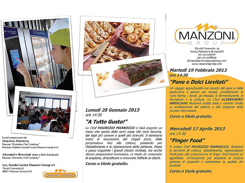Corsi di cucina gennaio aprile 2013 di Manzoni Group di Falconara Marittima