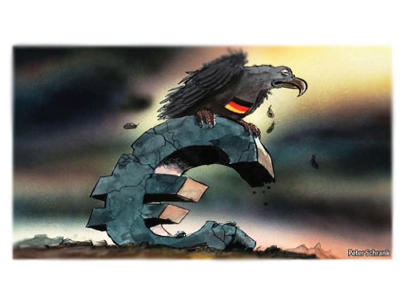 Immagine della crisi dell'Europa e dell'Euro, tratta da Byoblu.com