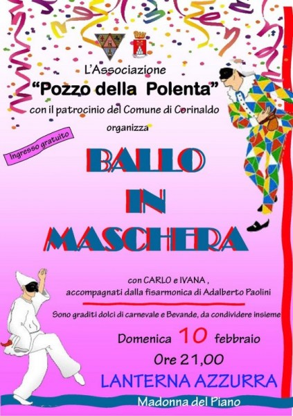 Carnevale: locandina ballo in maschera a Corinaldo