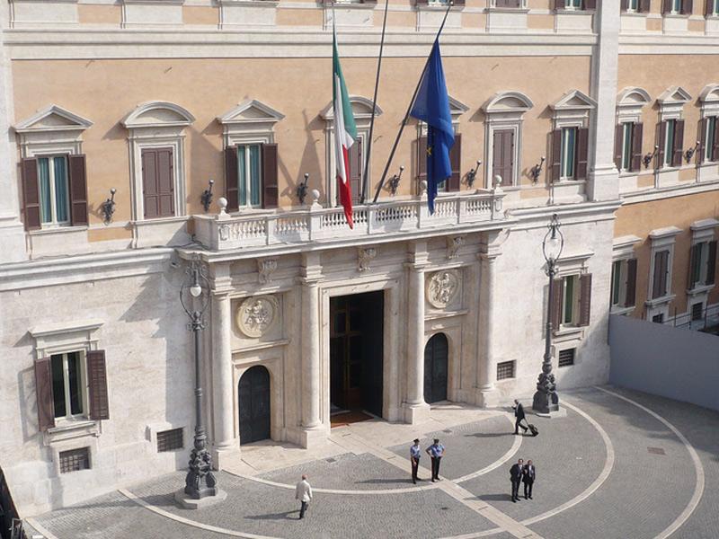 Palazzo Montecitorio, sede della Camera dei Deputati, uno dei due rami del Parlamento Italiano