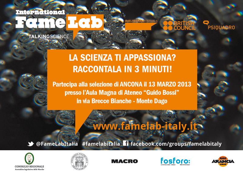 Locandina di Famelab, talent show internazionale della scienza ad Ancona