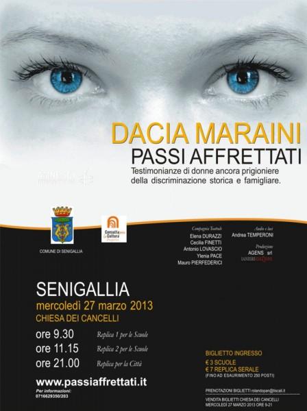 Locandina dello spettacolo Passi Affrettati di Dacia Maraini