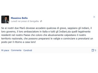 Post su Facebook di Massimo Bello