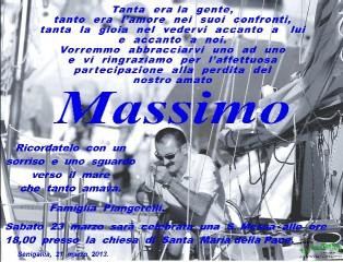 Manifesto funebre di ringraziamento per la partecipazione al lutto per Massimo Piangerelli