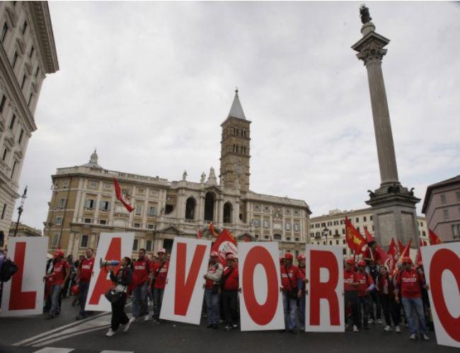 Una manifestazione per il lavoro in Italia