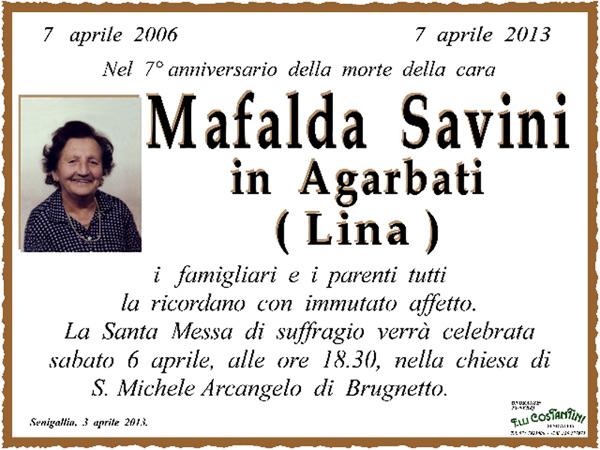 Manifesto funebre per Mafalda Savini in Agarbati