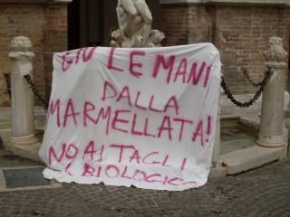 La protesta per i tagli alla spesa nelle scuole, Piazza Roma