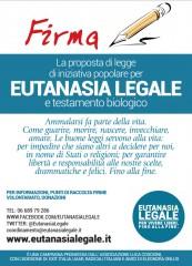Volantino per la raccolta firme sull'eutanasia e testamento biologico