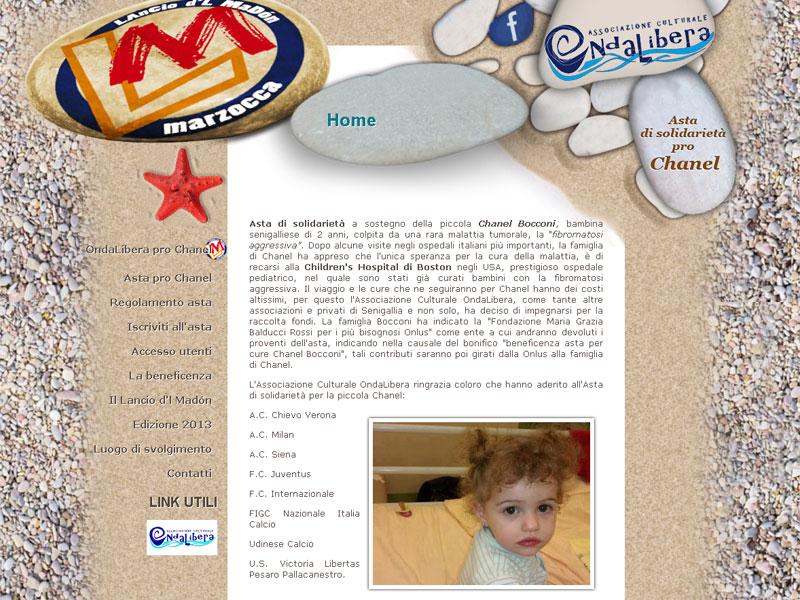 La homepage di lanciodelmadon.it, su cui si svolge l'asta per Chanel