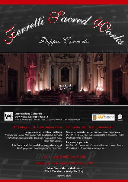 "i Concerti ""a Lume di Candela"" organizzati dal New Vocal Ensemble"