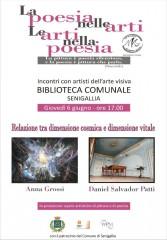 Locandina dell'incontro su arti e poesia alla biblioteca di Senigallia