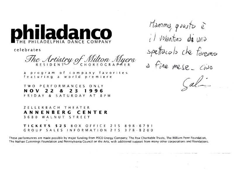 """Volantino di uno spettacolo con la scuola di danza di Philadelphia """"Philadanco"""""""