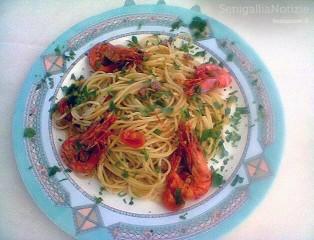 Spaghetti ciauscolo e mazzancolle