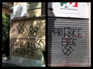 Le scritte inneggianti a Priebke comparse nei muri di Roma