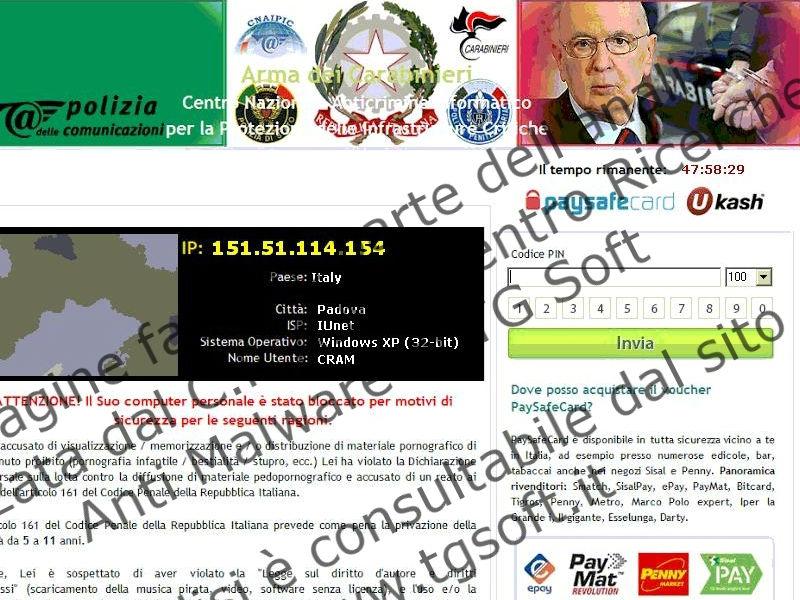 Schermata di Tgsoft sul Trojan FAKEGDF con l'immagine di Giorgio Napolitano