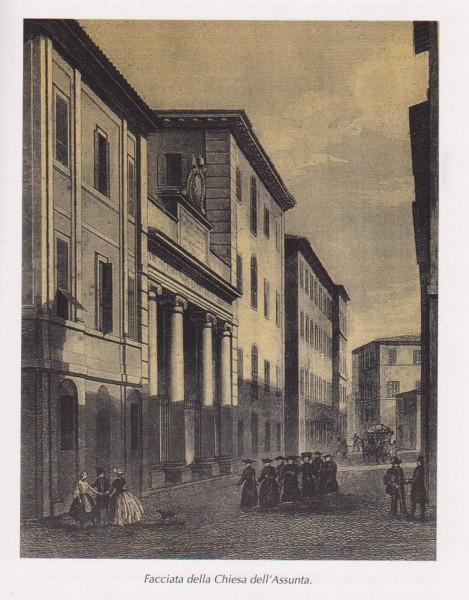 La Chiesa dell'Assunta o dei Cancelli in una stampa d'epoca