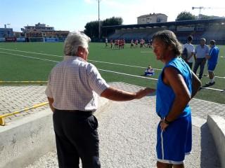 Glauco Simonetti salutato dal Presidente della Vigor Valentino Mandolini