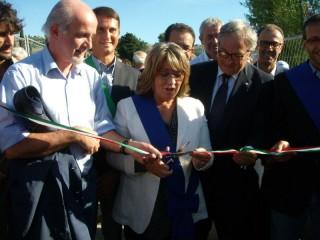 Casagrande, Spacca, Ricci e Principi all'inaugurazione del ponte sul Cesano