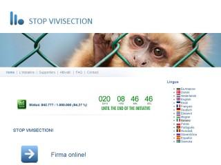 Home page del sito stopvivisection.eu