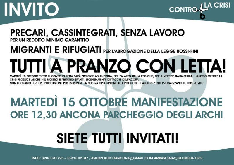 """Manifesto dell'iniziativa """"A pranzo con Letta"""" del 15 ottobre ad Ancona, promosso dai centro sociali delle Marche"""