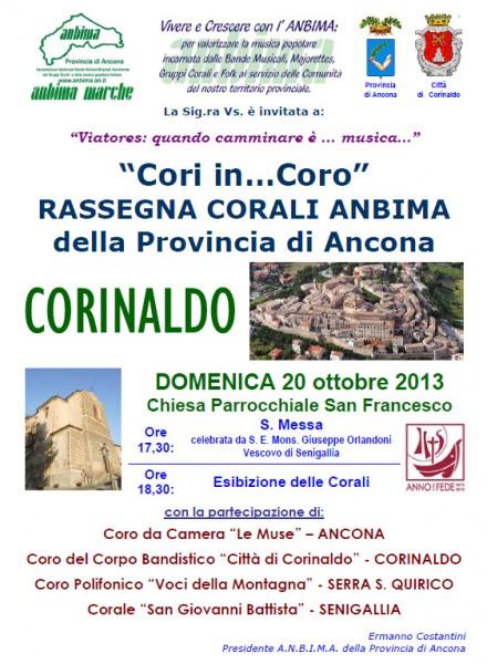 """Locandina della rassegna """"Cori in...Coro"""" a Corinaldo"""