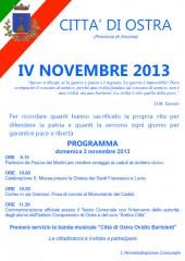 Il manifesto per le celebrazioni del IV novembre a Ostra