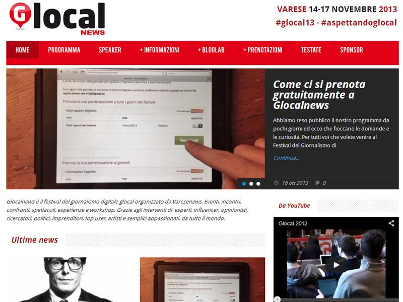 home page del sito di Glocalnews (festivalglocal.it)