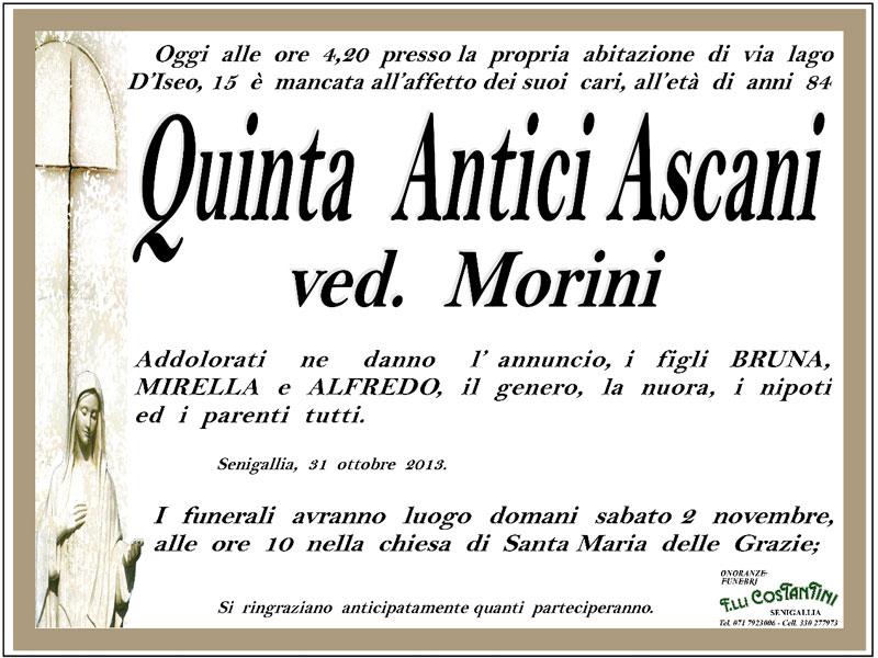 Necrologio per Quinta Antici Ascani