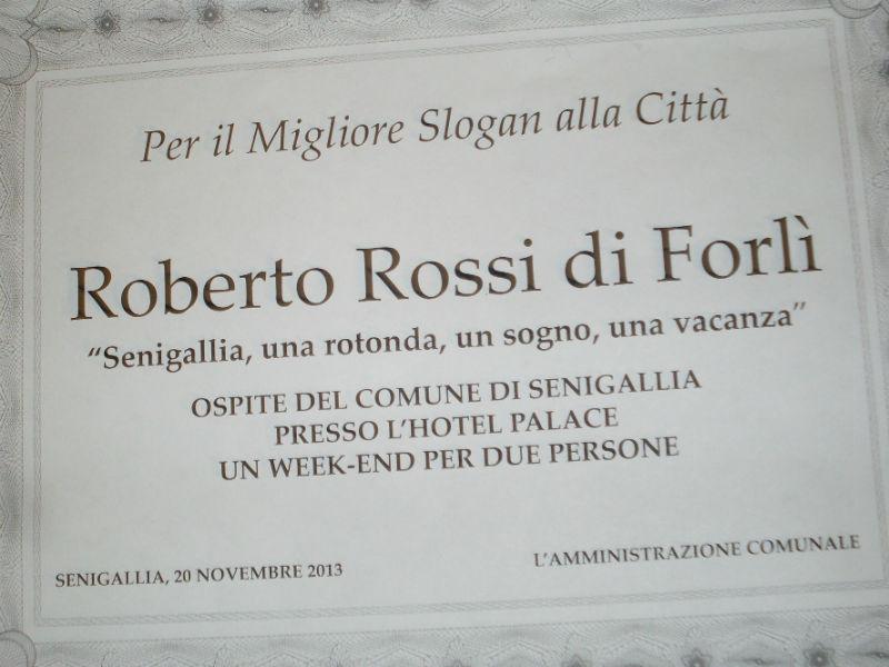 Slogan per Senigallia al turista Roberto Rossi, attestato